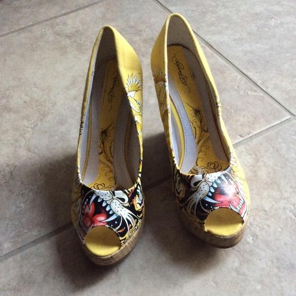 ff2aeb1b3a0 Ed Hardy Shoes - Ed Hardy yellow wedge peep toe shoes size 8 💛💛